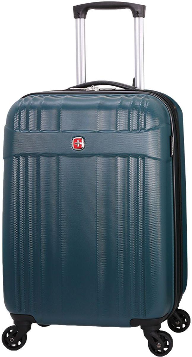 Чемодан Wenger Emme, цвет: морской волны. 63576361546357636154Чемодан Wenger выполнен из ABS пластика и оформлен фирменной пластинкой. Изделие оснащено регулируемой выдвижной ручкой из авиационного алюминия с фиксатором, которая обеспечивает удобство перемещения чемодана. Также чемодан имеет удобные прочные ручки для переноски и 4 колеса, которые вращаются на 360 градусов, гарантируя максимальную манёвренность. Чемодан имеет два главных отделение, которые закрываются с помощью застежки-молнии. Внутри расположено два вместительных отделения, разделенные сетчатой тканевой перегородкой на молнии. Внутренний карман на молнии и эластичные ремни гарантируют надежную фиксацию вещей на месте. Вместимость чемодана может быть дополнительно увеличена на 5 см.