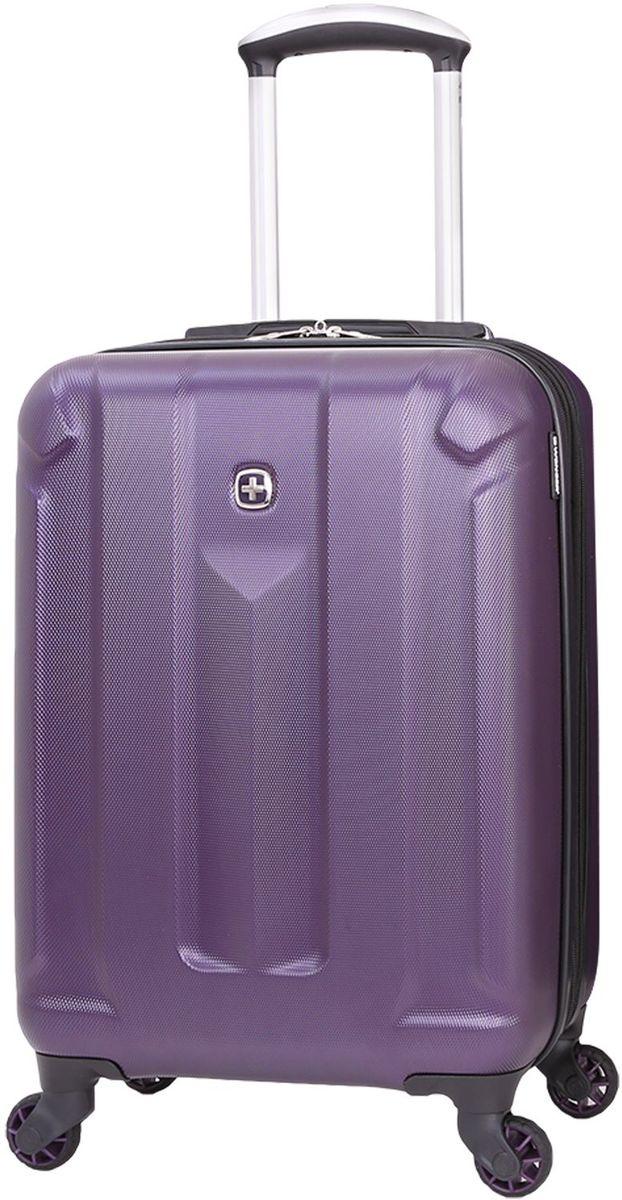 Чемодан Wenger Zurich III, цвет: фиолетовый. 65739091546573909154Чемодан Wenger выполнен из ABS пластика и оформлен фирменной пластинкой. Изделие оснащено регулируемой выдвижной ручкой из авиационного алюминия с фиксатором, которая обеспечивает удобство перемещения чемодана. Также чемодан имеет удобные прочные ручки для переноски и 4 колеса, которые вращаются на 360 градусов, гарантируя максимальную манёвренность. Чемодан имеет два главных отделение, которые закрываются с помощью застежки-молнии. Внутри расположено два вместительных отделения, разделенные сетчатой тканевой перегородкой на молнии. Внутренний карман на молнии и эластичные ремни гарантируют надежную фиксацию вещей на месте. Вместимость чемодана может быть дополнительно увеличена на 5 см.