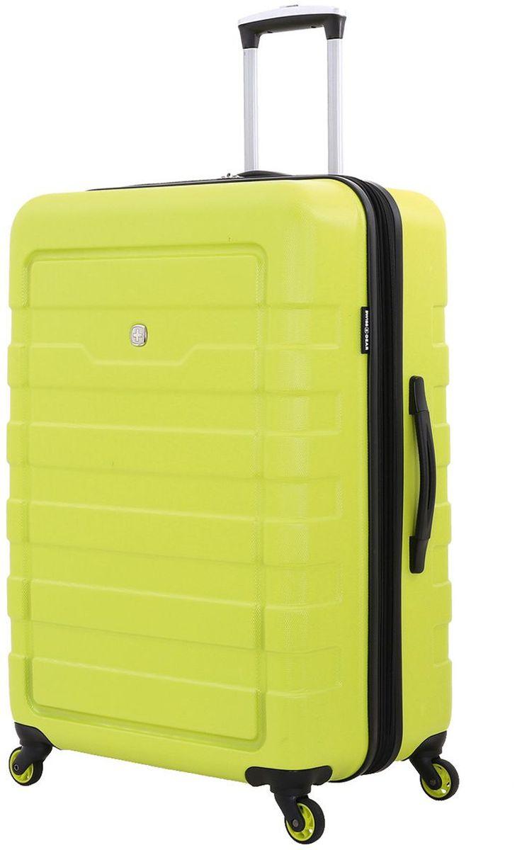 Чемодан Swiss Gera Tresa, цвет: салатовый, 100 л6581227177Эргономичность,качество и удобство в использовании — 3 основополагающие характеристики чемоданов SWISSGEAR.Высокачественные материалы и строгий контроль на всех этапах производства гарантируют ощущение комфорта и удовольствия от путешествия. SWISSGEAR арт. 6581227177 Вместительный и надёжный чемодан для всей семьи – SWISSGEAR TRESA 6581227177. Чемодан изготовлен из прочного пластика, имеет рельефный дизайн корпуса, основной цвет – салатовый. На чемодане предусмотрены три ручки: две верхние, одна из которых телескопическая и третья – боковая. С одной стороны, на чемодане имеются защитные ножки, для бокового хранения. Телескопическая ручка из прочного алюминия надёжно закрепляется в специальном отсеке. Чемодан имеет 4 поворотные колеса с максимальным радиусом вращения. Внутреннее пространство разделено на отсеки: главное отделение имеет удерживающие устройство: х-образная резинка, дополнительное отделение в крышке чемодана закрепляется клапаном из сетки на молнии. Также предусмотрен...