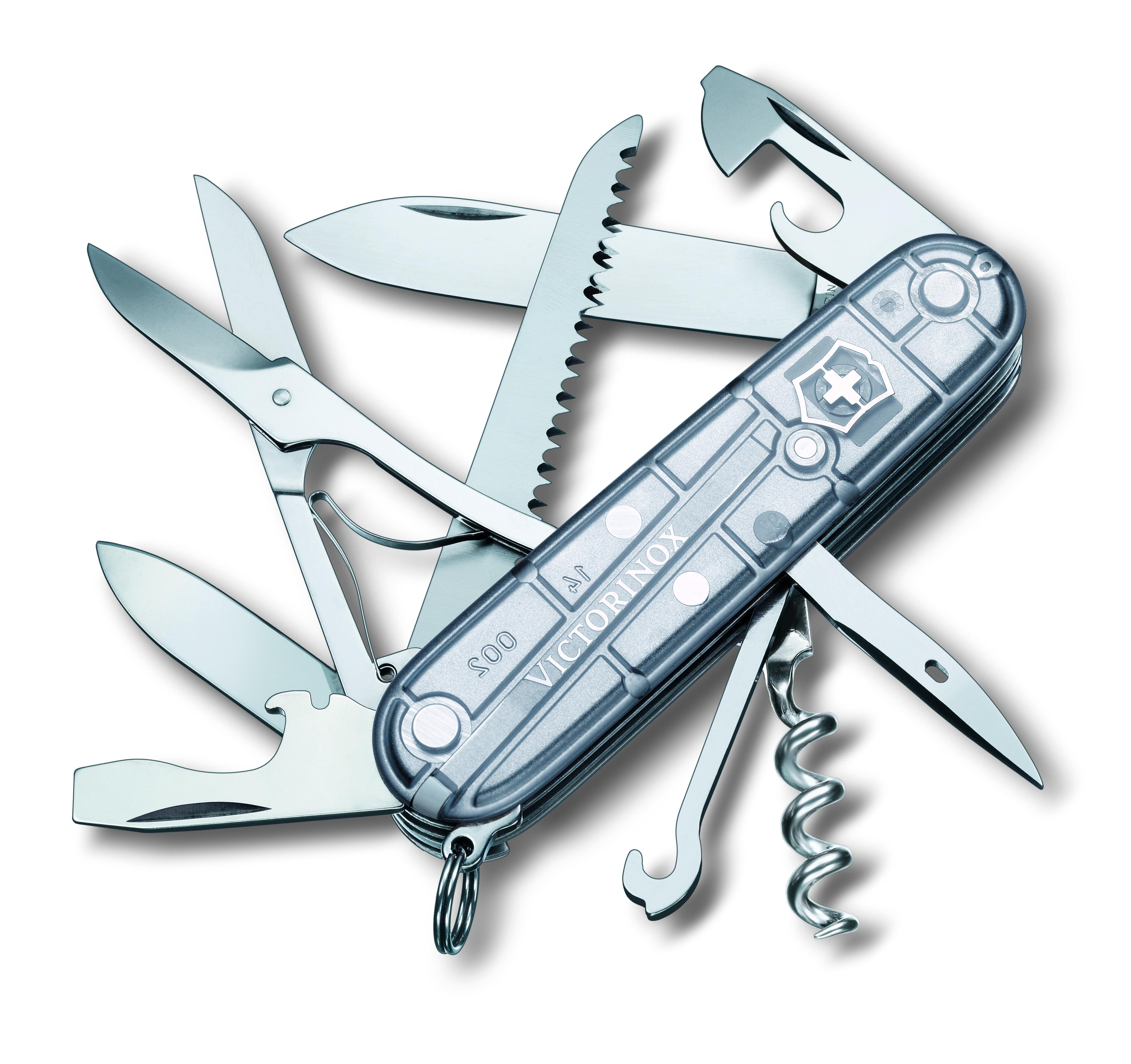 Нож перочинный Victorinox Huntsman, 15 функций, цвет: прозрачный, длина клинка 68 мм1.3713.T7Маленький красный карманный нож с эмблемой креста на щите на рукояти — самый узнаваемый символ компании Victorinox.В 1897 году основатель компани Карл Эльзенер разработал первый «Швейцарский армейский нож».Более 130 лет компания Victorinox разрабатывает продукты,которые не просто уникальны по дизайну и качеству,но и способны стать верными спутниками по жизни как для великих,так и для небольших приключений. VICTORINOX арт. 1.3713.T7 Швейцарский армейский нож HUNTSMAN имеет 15 функций: 1. Большое лезвие 2. Малое лезвие 3. Штопор 4. Консервный нож с: 5. – Малой отвёрткой 6. Открывалка для бутылок с: 7. – Отвёрткой 8. – Инструментом для снятия изоляции 9. Шило, кернер 10. Кольцо для ключей 11. Пинцет 12. Зубочистка 13. Ножницы 14. Многофункциональный крючок 15. Пила по дереву Цвет рукояти: полупрозрачный серебристый Рекомендуемые чехлы: 4.0480.1, 4.0480.3, 4.0520.1, 4.0520.3, 4.0520.31, 4.0520.32, 4.0543.3, 4.0533, 4.0738 Рекомендуемые аксессуары: Инструмент для заточки: 4.3311, 4.3323,...