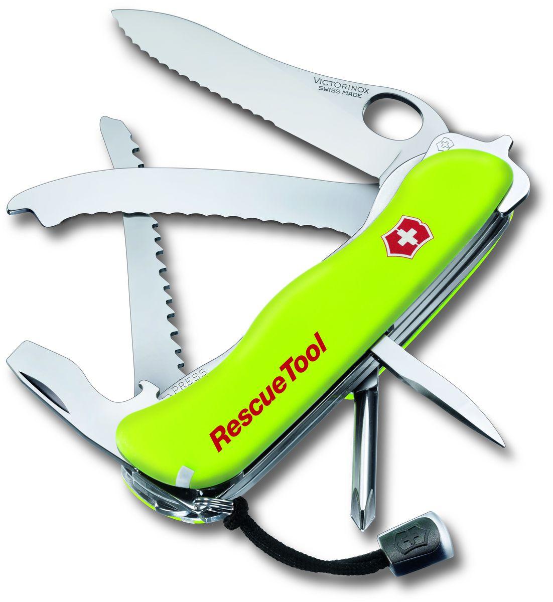 Нож перочинный Victorinox Rescue Tool, 14 функций, цвет: желтый, длина клинка 86 мм0.8623.MWNМаленький красный карманный нож с эмблемой креста на щите на рукояти — самый узнаваемый символ компании Victorinox.В 1897 году основатель компани Карл Эльзенер разработал первый «Швейцарский армейский нож».Более 130 лет компания Victorinox разрабатывает продукты,которые не просто уникальны по дизайну и качеству,но и способны стать верными спутниками по жизни как для великих,так и для небольших приключений. VICTORINOX арт. 0.8623.MWN Перочинный нож RESCUE TOOL имеет 14 функций: 1. Фиксирующееся лезвие с петлёй для открывания одной рукой и серейторной заточкой на 2/3 клинка 2. Крестовая отвёртка 3. Инструмент для боя стекла 4. Фиксирующаяся открывалка для бутылок с: 5. – Отвёрткой / фомкой 6. – Инструментом для снятия изоляции 7. Шило, кернер 8. Стропорез 9. Кольцо для ключей 10. Пинцет 11. Зубочистка 12. Дисковая пила для небьющегося стекла 13. Люминесцентная рукоять 14. Шнурок на руку Цвет рукояти: жёлтый В комплекте: нейлоновый чехол Рекомендуемые аксессуары: Инструмент для заточки:...