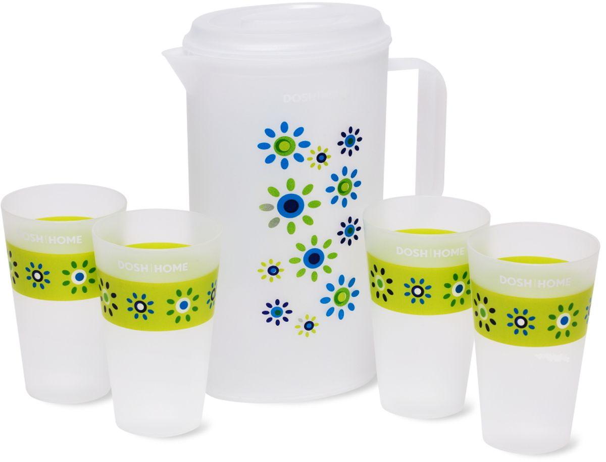 Набор Dosh l Home GRUS: кувшин и чашки, 5 предметов500100Кувшин и 4 чашки предназначен для приготовления и сервировки прохладительных напитков. Сделано из превосходного пластика. Имеет привлекательный внешний вид. Можно мыть в посудомоечной машине. Используйте бережные программы для мытья посуды. Внимание: Температура жидкости, которую наливают в кувшин и чашки не должна превышать 60 °C.