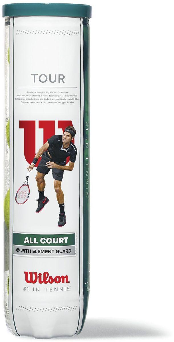 Набор мячей Wilson Tour All Court 4 BallWRT115700Теннисные мячи из Премиальной линейки Wilson, обладающие повышенной износостойкостью и передающие идеальные ощущения игры. Материал покрышки - фетр, клееный. Тип поверхности мяча: универсальные.