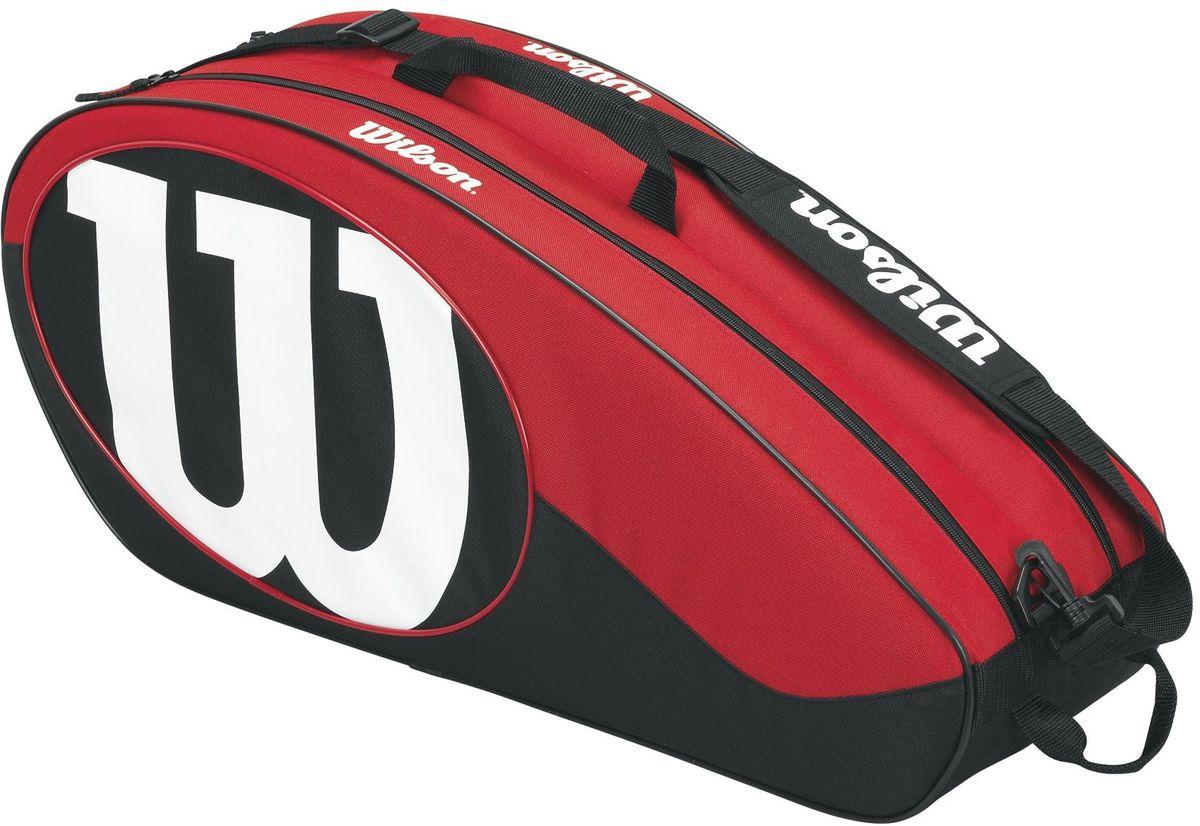 Сумка для ракетки Wilson Match II 6Pk, цвет: черный, красныйWRZ820606Чехол с богатым функционалом для серьезных игроков в теннис, предпочитающих серию Match II. Два удобных отделения для комфортного хранение своего теннисного инвентаря.
