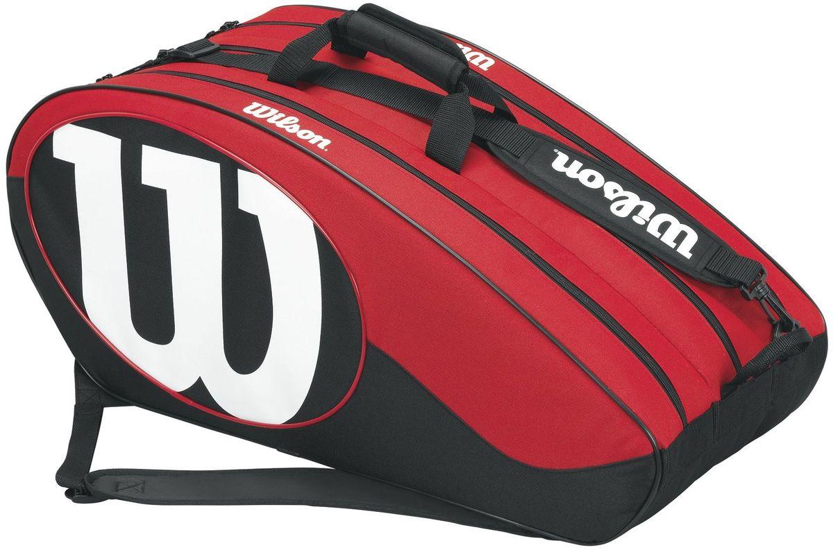 Сумка для ракетки Wilson Match II 12Pk, цвет: черный, красныйWRZ820612Теннисная сумка на 12 ракеток из коллекции Match II. Обновлённый дизайн и большое количество удобных карманов, позволяющих взять с собой на тренировку или турнир всё самое необходимое.