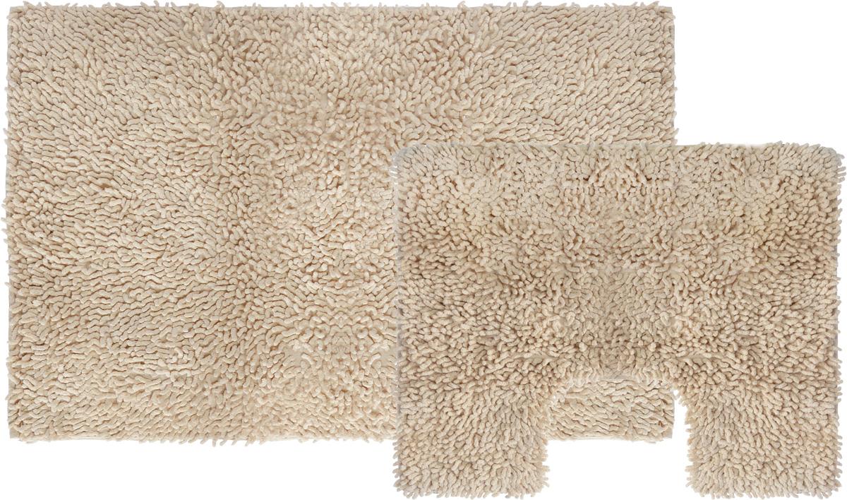 Набор ковриков для ванной Shee Sai International, цвет: бежевый, 60 х 90 см + 60 х 50 см15343/бежИзготовленные из натурального индийского хлопка,легко стираются,мягкие и приятные на ощупь.
