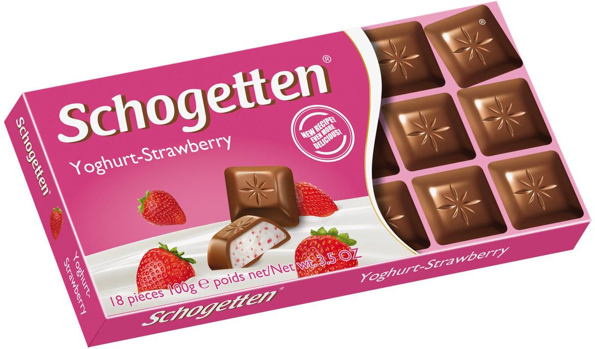 Schogetten Молочный шоколад с начинкой клубничный йогурт, 100 г50587591Невероятно вкусный молочный шоколад Schogetten с начинкой из клубничного йогурта. Уважаемые клиенты! Обращаем ваше внимание, что полный перечень состава продукта представлен на дополнительном изображении.