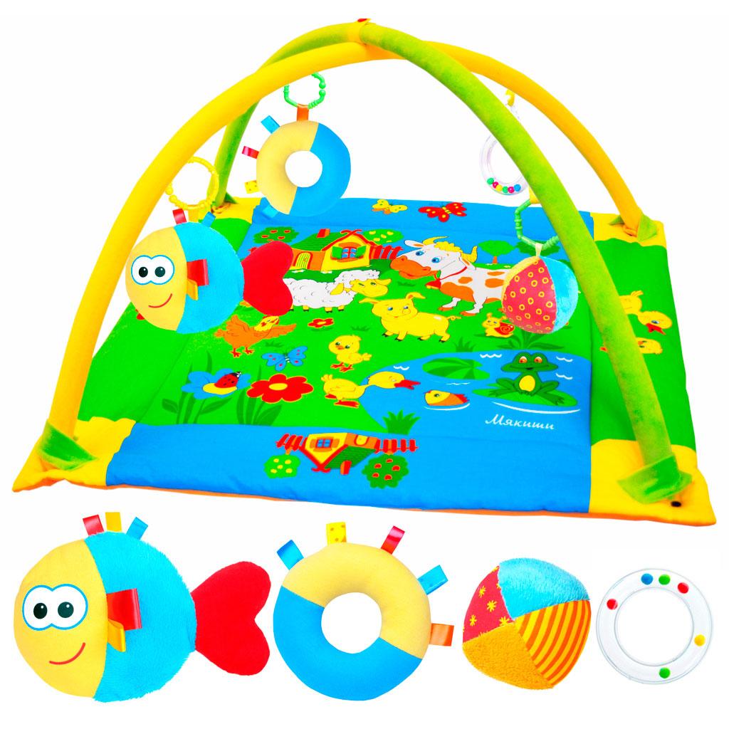 Развивающий коврик Лужайка, с рыбкой, 90 см x 90 см189Яркий развивающий коврик Лужайка станет первой площадкой для игр вашего малыша. Коврик Лужайка - это сенсорный тренажер для ориентировки малыша в пространстве, насыщенный цветами, изображениями и объемными формами, также это чудесный мир персонажей, эмоционально близких маленькому ребенку. Прямоугольный набивной коврик выполнен из необычайно мягкого и приятного на ощупь материала с яркими цветными рисунками. На поверхности коврика малыш найдет шуршащий пруд с рыбкой и лягушкой, домик с открывающимся окошком, уточку с пищалкой внутри и яркие изображения домашних животных, резвящихся на летней лужайке. Коврик оборудован двумя съемными дугами, которые помогут малышу расслабиться, обеспечивая визуально безопасное пространство, напоминающее о пребывании в уютном мамином животике. На дугах малыш найдет три развивающие съемные игрушки: мячик-погремушку, рыбку с пищалкой внутри, разноцветное колечки и прорезыватель для зубов. Размер коврика идеален для рассматривания...