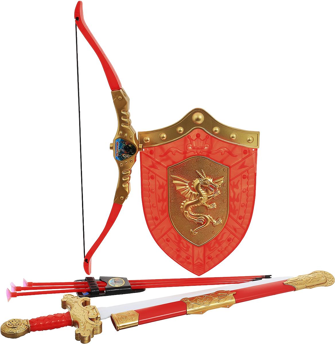 Играем вместе Набор оружия Три богатыря 8 предметов цвет красный золотистыйB608255-R2С набором оружия Играем вместе Три богатыря ваш ребенок почувствует себя настоящим защитником и сможет создать несколько игровых сцен средневековья, попробовав себя в роли рыцаря или богатыря. В набор входят щит, меч с ножнами, лук, футляр для стрел и три стрелы. Все элементы выполнены из прочного и безопасного для ребенка материала. Порадуйте своего ребенка таким замечательным подарком!
