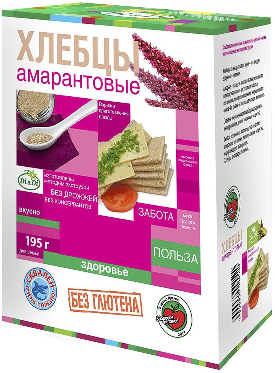 Di&Di хлебцы амарантовые без глютена, изготовленные методом экструзии, 195 г4606938004590Продукт функционального питания. Богат калием, кальцием, магнием, фосфором, железом.