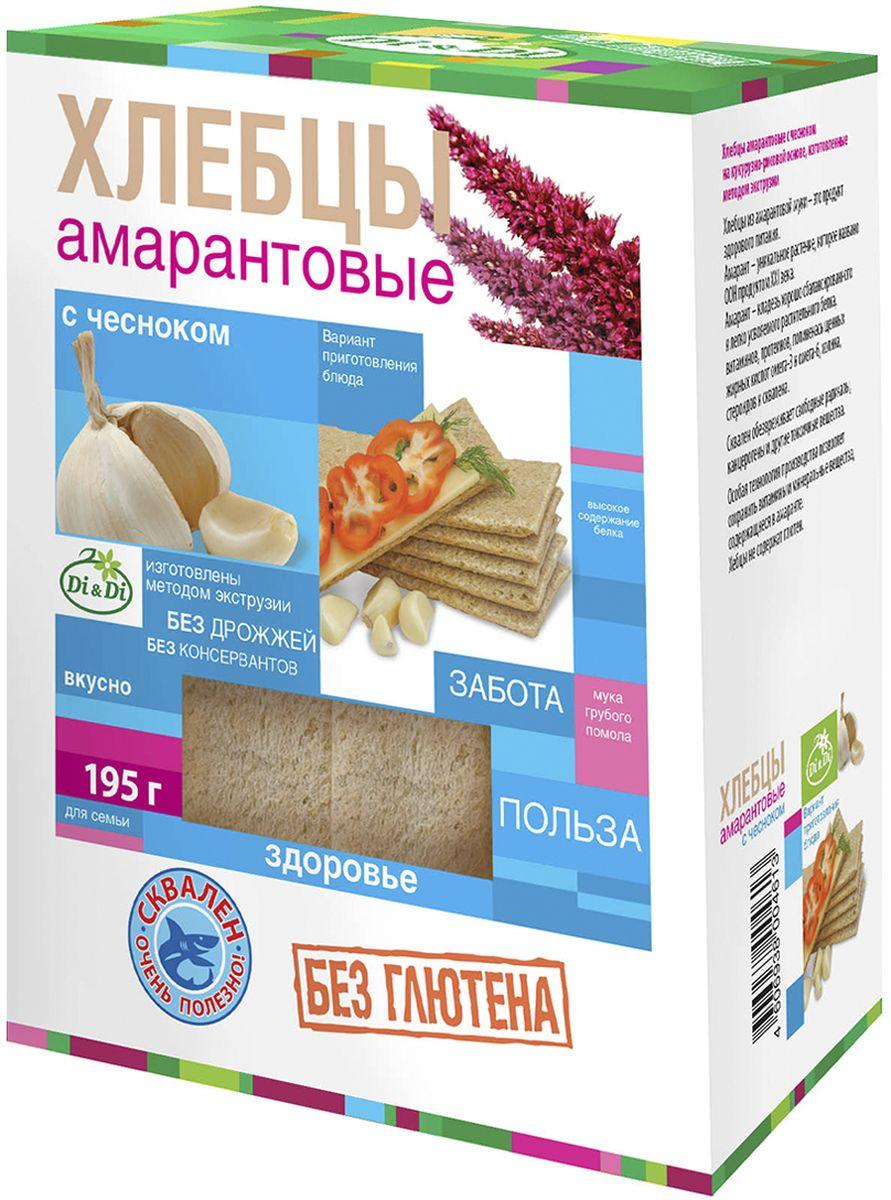Di&Di хлебцы амарантовые с чесноком без глютена, изготовленные методом экструзии, 195 г