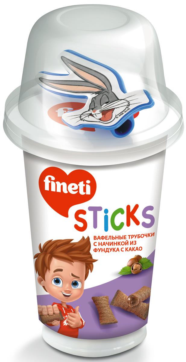 Fineti Sticks Вафельные трубочки с начинкой из фундука с какао, 45 г
