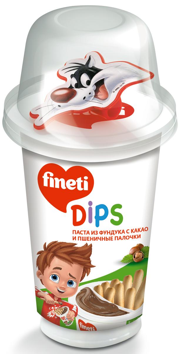 Fineti Dips Паста из фундука с какао и Пшеничные палочки, 45 г72527Fineti - торговая марка кондитерских изделий компании Chipita. Это продукты с пастой из фундука с какао для детей. Бренд Fineti представлен в 30 странах и предлагает потребителям ассортимент высокочачественных и вкусных продуктов.