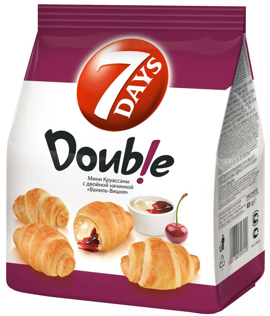 7DAYS Double! Мини-круассаны с двойной начинкой Ваниль-Вишня, 65 г56872Круассаны 7DAYS - готовая к употреблению выпечка из нежного теста с восхитительными кремовыми и джемовыми начинками. Мини-круассаны 7DAYS - это много маленьких вкусных круассанов в одной упаковке. На выбор потребителя представлен широкий ассортимент кремовых и джемовых начинок. Прекрасно сочетаются с чаем и кофе, идеально подходят для того, чтобы разделить их с близкими. Превосходный выбор снэка для потребления дома и на ходу. Воздушные мини-круассаны 7DAYS Double! с двойной начинкой, перед которыми невозможно устоять.