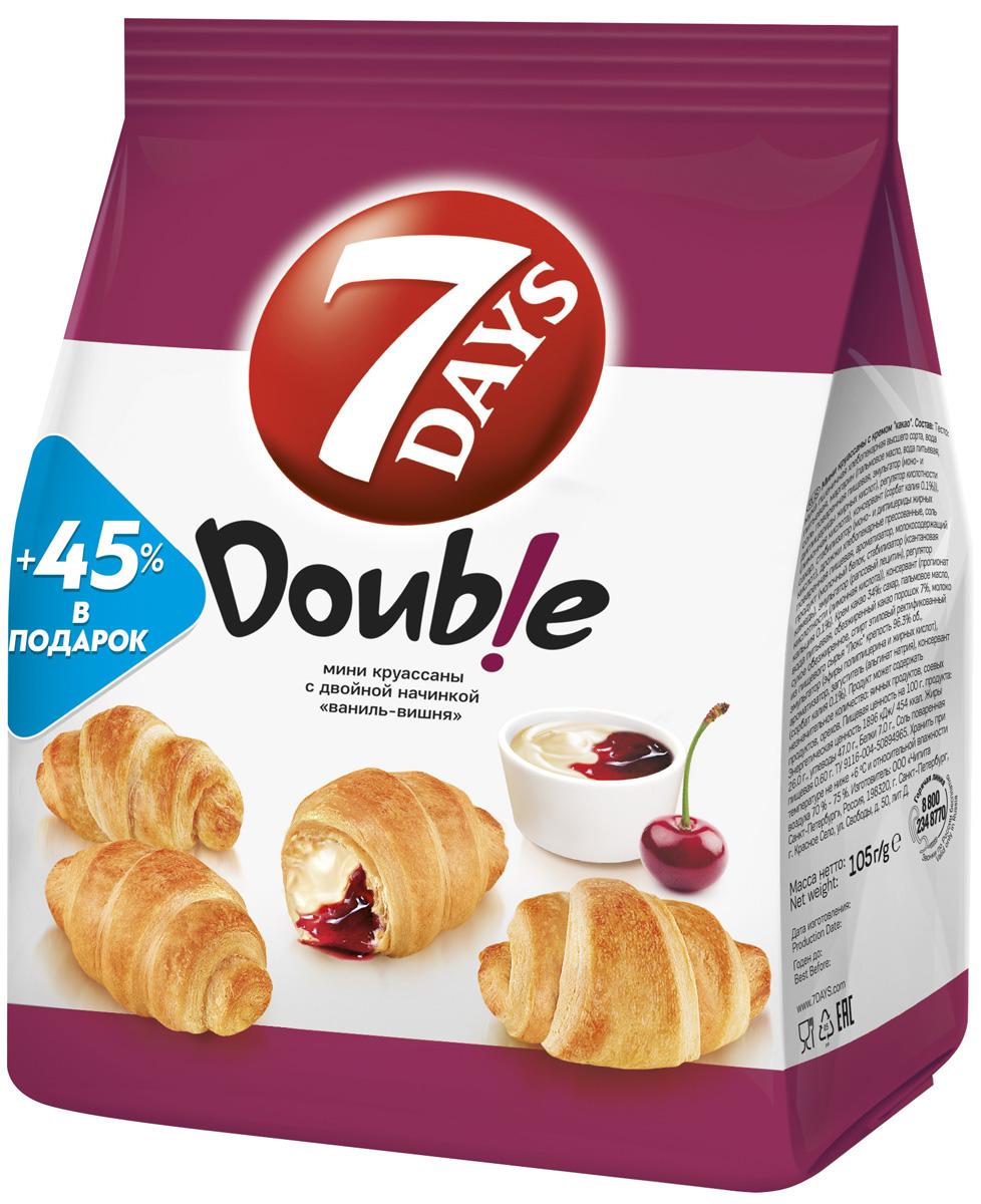 7 Days Double! Мини Круассаны с двойной начинкой Ваниль-Вишня, 105 г