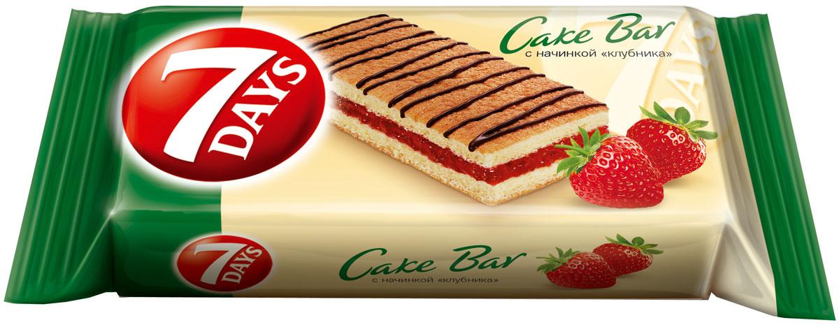 """7DAYS Cake Bar Пирожное бисквитное с начинкой """"клубника"""", 30 г"""