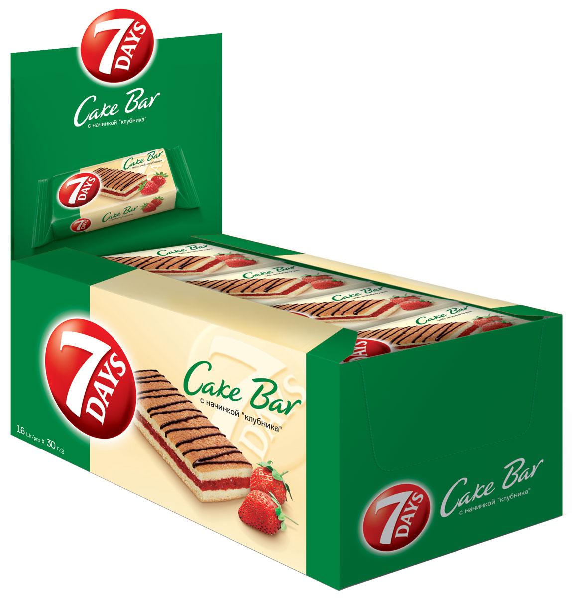7DAYS Cake Bar Пирожное с начинкой Клубника, 16 шт по 30 г