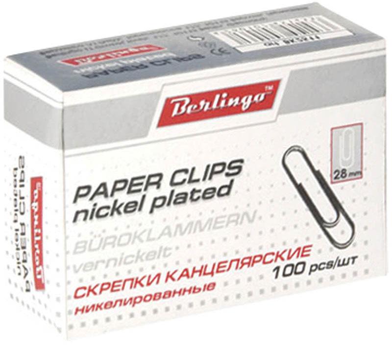 Berlingo Скрепки никелированные 28 мм 100 шт BK2511BK2511Никелированные канцелярские скрепки Berlingo стандартной круглой формы. Не ржавеют, не пачкают бумагу, обеспечивают надежное скрепление. В упаковке 100 штук.