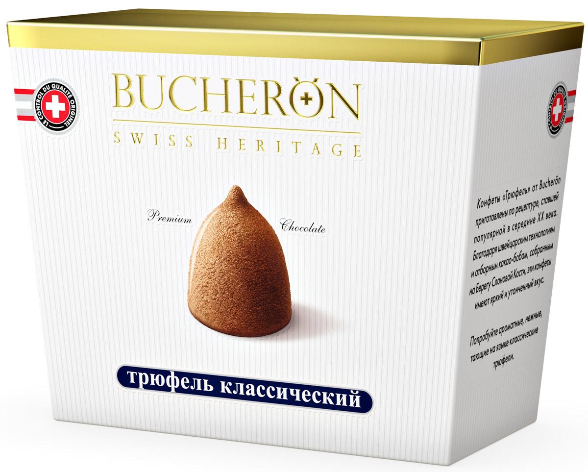 Bucheron конфеты Трюфель классический, 175 г16.3837Конфеты Трюфель от Bucheron приготовлены по рецептуре, ставшей популярной в середине XX века. Благодаря швейцарским технологиям и отборным какао-бобам, собранным на Берегу Слоновой Кости, эти конфеты имеют яркий и утонченный вкус. Попробуйте ароматные, нежные, тающие на языке классические трюфели.