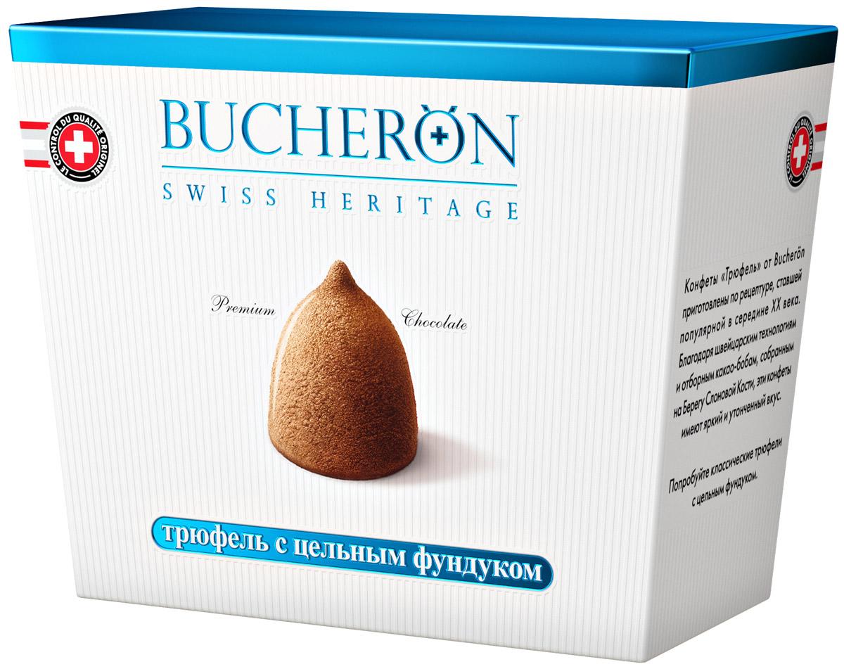 Bucheron конфеты Трюфель с цельным фундуком, 175 г16.3875Конфеты Трюфель от Bucheron приготовлены по рецептуре, ставшей популярной в середине XX века. Благодаря швейцарским технологиям и отборным какао-бобам, собранным на Берегу Слоновой Кости, эти конфеты имеют яркий и утонченный вкус. Попробуйте классические трюфели с цельным фундуком.