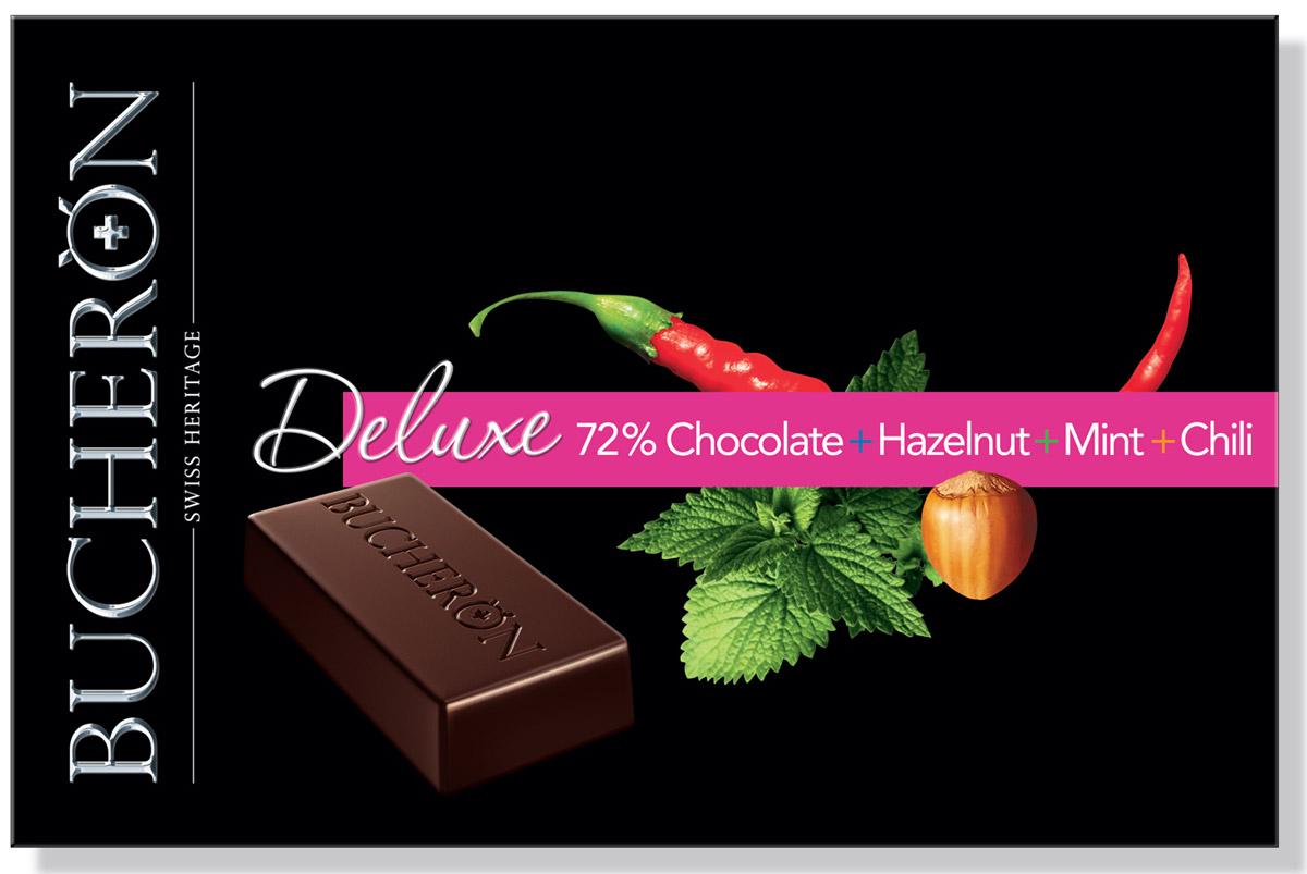 Bucheron Deluxe горький шоколад с фундуком, мятой и кайенским перцем, 95 г14.3974Кайенский перец превосходно сочетается с прохладой мяты, делая вкус шоколада, приготовленного из отборных венесуэльских какао-бобов, изысканным и оригинальным.