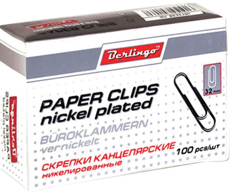 Berlingo Скрепки никелированные 32 мм 100 штBK2512Никелированные канцелярские скрепки Berlingo стандартной круглой формы. Не ржавеют, не пачкают бумагу, обеспечивают надежное скрепление. В упаковке 100 штук.