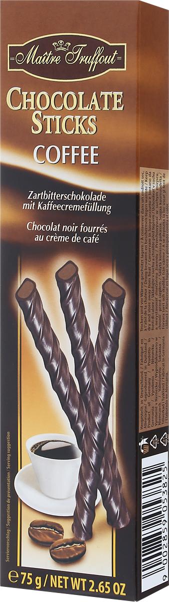 Maitre Truffout Палочки из горького и молочного шоколада с кофейной начинкой, 75 г7.68.01Палочки составят замечательную пару с кофе, чаем, капучино или молоком. Их также можно предложить к мороженому. Сдержанный аромат шоколада дополняют аппетитные нотки ванили и кофе. Вкус медленно тающего и приятно обволакивающего шоколада гармонично переплетается с хорошо выраженными оттенками кофе. Уважаемые клиенты! Обращаем ваше внимание, что полный перечень состава продукта представлен на дополнительном изображении.