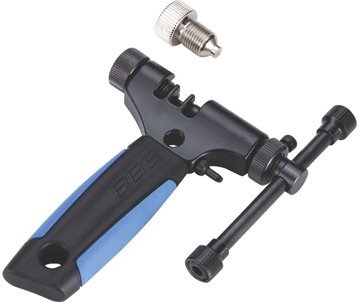 Выжимка цепи BBB ProficonnectBTL-55Профессиональная выжимка цепи. Подходит для всех цепей, включая 11 скоростные. Полностью регулируется под ширину цепи. Удобная резиновая ручка. В комплекте деталь для цепи Campagnolo 11 скоростей. Запасной пин в комплекте.