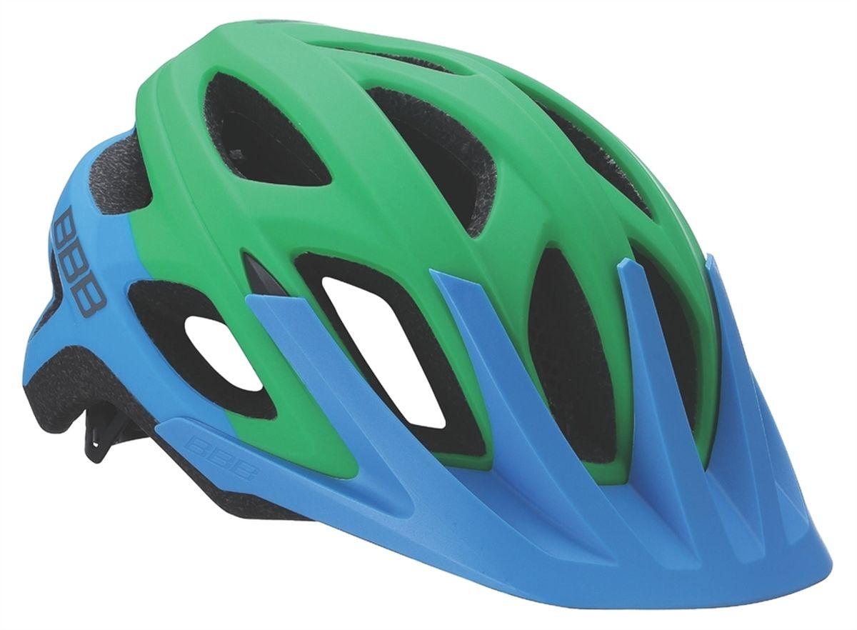 Шлем летний BBB Varallo, цвет синий, зеленый. Размер LBHE-67Это настоящий шлем для MTB. Регулируемый козырёк защищает ваши глаза от солнца и грязи, а 18 вентиляционных отверстий обеспечивают комфорт. Идеально сочетается с джерси серии Gravity и шортами Element в самых разнообразных цветовых комбинациях, чтобы создать законченный образ настоящего байкера. Шлем для маунтинбайка (all-mountain). Интегрированная конструкция. 18 вентиляционных отверстий. Отверстия для вентиляции в задней части шлема для оптимального распределения потоков воздуха. Защитная сетка от насекомых в вентиляционных отверстиях. Настраиваемые ремешки для максимально комфортной посадки. Простая в использовании система настройки TwistClose, можно настроить шлем одной рукой. Съемные мягкие накладки с антибактериальными свойствами и возможностью стирки. Съёмный козырёк. Светоотражающие наклейки на задней части шлема. Размеры: М (54-58 см) и L(58-61.5 см).