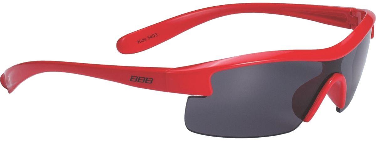 Очки солнцезащитные BBB Kids PC Smoke Lens, цвет: красныйBSG-54Специальные детские очки небольшого размера. Прочная монолитная оправа из поликарбоната. Округлая форма линз обеспечивает защиту от солнца, пыли и ветра. 100% защита от ультрафиолета. Мешочек для хранения в комплекте.