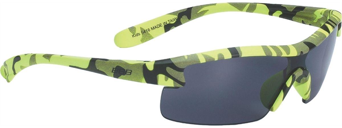 Очки солнцезащитные BBB Kids PC Smoke Lens, цвет: желтый камуфляжBSG-54Специальные детские очки небольшого размера. Прочная монолитная оправа из поликарбоната. Округлая форма линз обеспечивает защиту от солнца, пыли и ветра. 100% защита от ультрафиолета. Мешочек для хранения в комплекте.