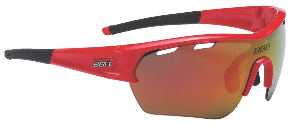 Очки солнцезащитные BBB Select XL MLC Red XL Lens Black Tips, цвет: красныйBSG-55XLОчки с линзами увеличенного размера. Все линзы снабжены специальной системой вентиляции. С внутренней стороны на них нанесено специальное покрытие, предотвращающее запотевание. Всё это способствует отличной работе в условиях высокой влажности и под дождём. На линзу нанесено гидрофобное покрытие. В дождь вода быстро стекает по линзе во время движения. Отдельно доступны разнообразные варианты цветовых схем линз и наконечников дужек. Округлая форма линз обеспечивает оптимальную защиту от солнца, пыли и ветра. 100% защита от ультрафиолета. Высокотехнологичная оправа из материала Grilamid с настраиваемой переносицей. Футляр в комплекте. В комплекте сменные линзы: прозрачные и желтые.