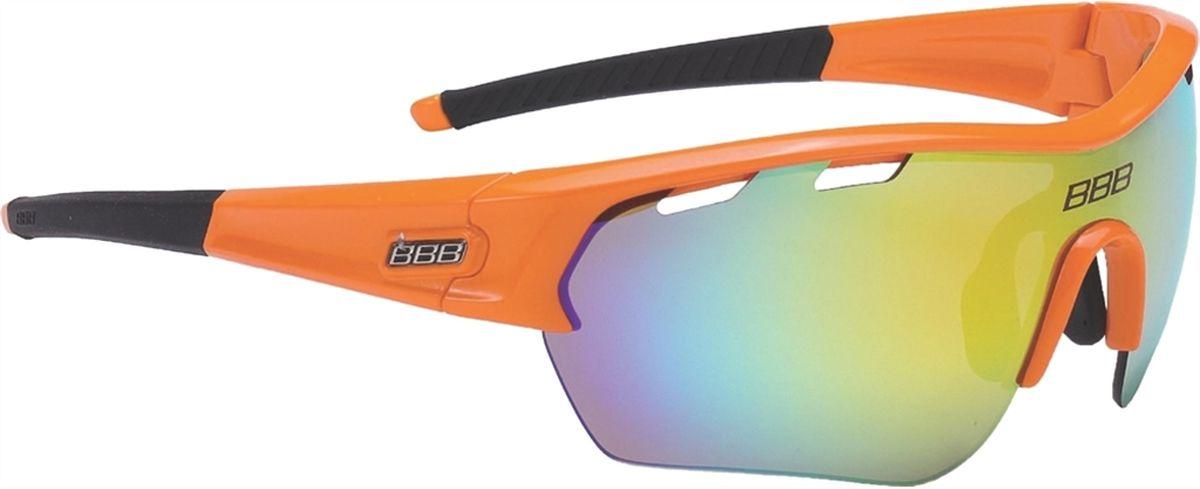 Очки солнцезащитные BBB Select XL MLC Orange XL Lens Black Tips, цвет: оранжевыйBSG-55XLОчки с линзами увеличенного размера. Все линзы снабжены специальной системой вентиляции. С внутренней стороны на них нанесено специальное покрытие, предотвращающее запотевание. Всё это способствует отличной работе в условиях высокой влажности и под дождём. На линзу нанесено гидрофобное покрытие. В дождь вода быстро стекает по линзе во время движения. Отдельно доступны разнообразные варианты цветовых схем линз и наконечников дужек. Округлая форма линз обеспечивает оптимальную защиту от солнца, пыли и ветра. 100% защита от ультрафиолета. Высокотехнологичная оправа из материала Grilamid с настраиваемой переносицей. Футляр в комплекте. В комплекте сменные линзы: прозрачные и желтые.