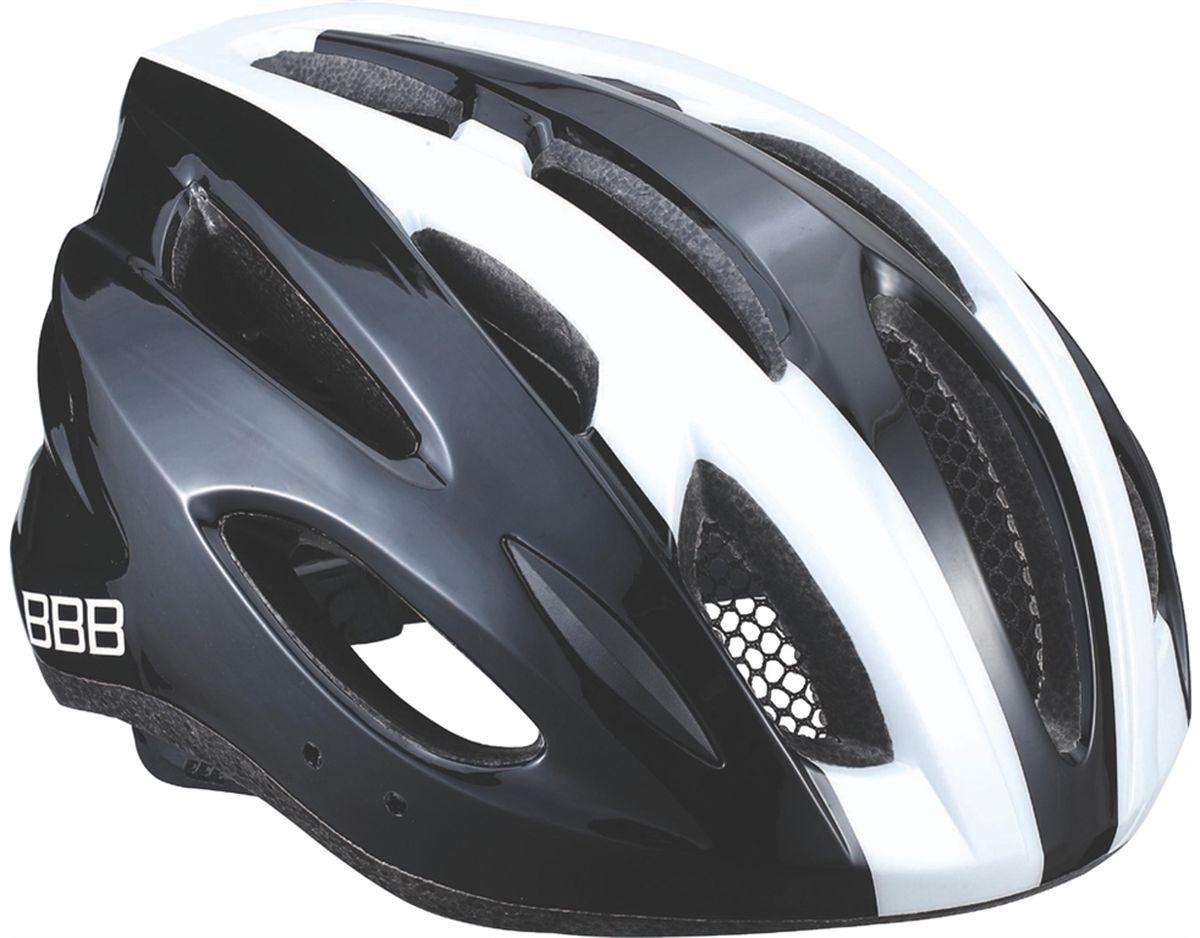 Шлем летний BBB Condor, цвет: черный, белый. Размер MBHE-35Если вы не понаслышке знакомы с разнообразными насекомыми, залетающими в вентиляционные отверстия шлема летом - вам может очень пригодиться Condor. Фронтальные отверстия прикрыты мелкой сеткой для защиты от непрошенных гостей. Кроме того, у Condor всего суммарно 18 отверстий для вентиляции и интегрированная конструкция для максимальной защиты в случае падений. Съёмный козырёк делает этот шлем одинаково хорошо подходящим как для шоссе, так и для маунтинбайка. Интегрированная конструкция. 18 вентиляционных отверстий. Отверстия для вентиляции в задней части шлема для оптимального распределения потоков воздуха. Защитная сетка от насекомых в вентиляционных отверстиях. Настраиваемые ремешки для максимально комфортной посадки. Простая в использовании система настройки TwistClose, можно настроить шлем одной рукой. Съемные мягкие накладки с антибактериальными свойствами и возможностью стирки. Светоотражающие наклейки на задней части шлема. ...