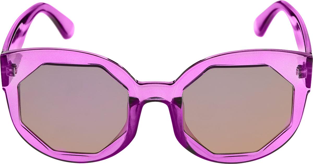 Очки солнцезащитные женские Kawaii Factory Многогранник, цвет: фиолетовый. KW010-000216KW010-000216Салфетка для очков и чехол в комплекте.