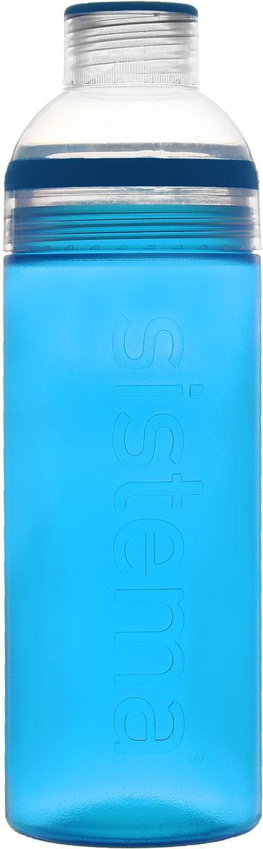 Бутылка для питья Sistema Trio, цвет: голубой, 700 мл840_голубойБутылка для воды Sistema Trio изготовлена из прочного пищевого пластика без содержания фенола и других вредных примесей. Она отлично подходит для разных напитков, особенно для прохладительных со льдом. Конструкция бутылки оригинальна и хорошо продуманна. Помимо крышки, закрывающей широкое горлышко бутылки, в емкости есть еще одна отвинчивающаяся часть. Верхняя часть бутылки откручивается, позволяя поместить в емкость кубики льда или кусочки фруктов. Кроме того, эта верхняя часть может использоваться как кружка для питья. С такой бутылкой Вы сможете где угодно насладиться Вашими любимыми напитками.