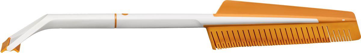 Щетка автомобильная Fiskars SnowXpert, со скребком1019352Благодаря щетке и скребку для льда SnowXpert очистить стекла автомобиля от снега, льда и влаги стало очень просто. Эластичные щетинки не оставляют царапин, а скребок с двойной кромкой позволят вам очистить автомобиль, не повредив поверхность стекла. Скребок с двумя кромками позволяет счищать лед в обоих направлениях. При этом гибкая кромка идеально подходит для очистки изогнутых лобовых стекол. Инновационная двусторонняя щетка с эластичными щетинками мягко очищает стекла автомобиля от снега и влаги, не оставляя царапин. Благодаря разборной конструкции инструмент удобно хранить в машине.