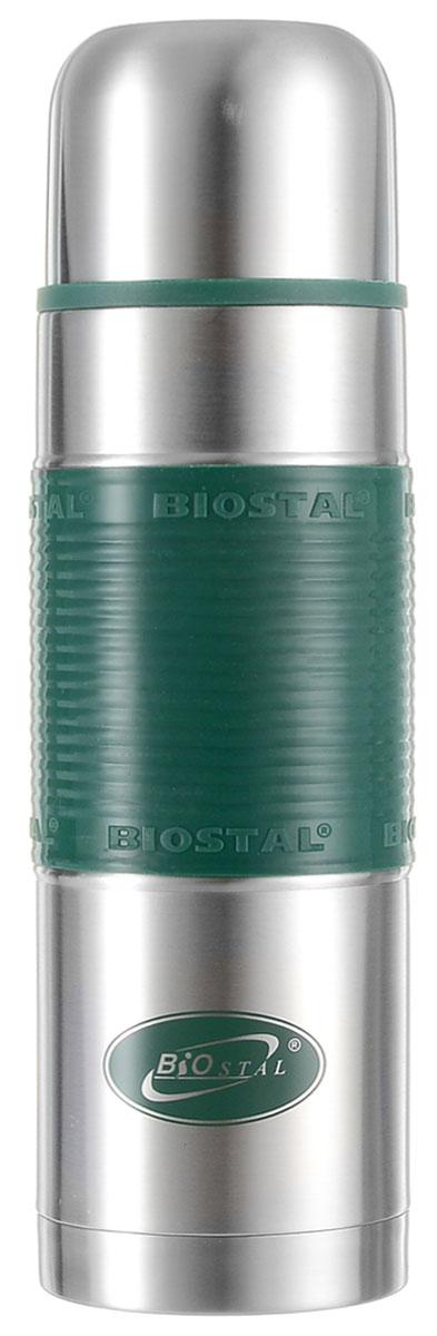 """Термос Biostal """"Flёr"""", цвет: стальной, зеленый, 750 мл"""