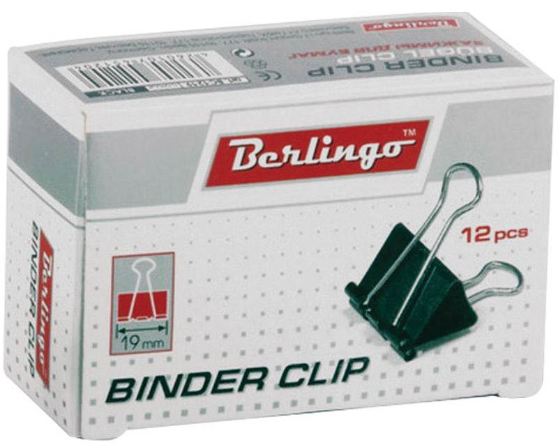 Berlingo Зажим для бумаг цвет черный ширина 19 мм 12 шт BC1219
