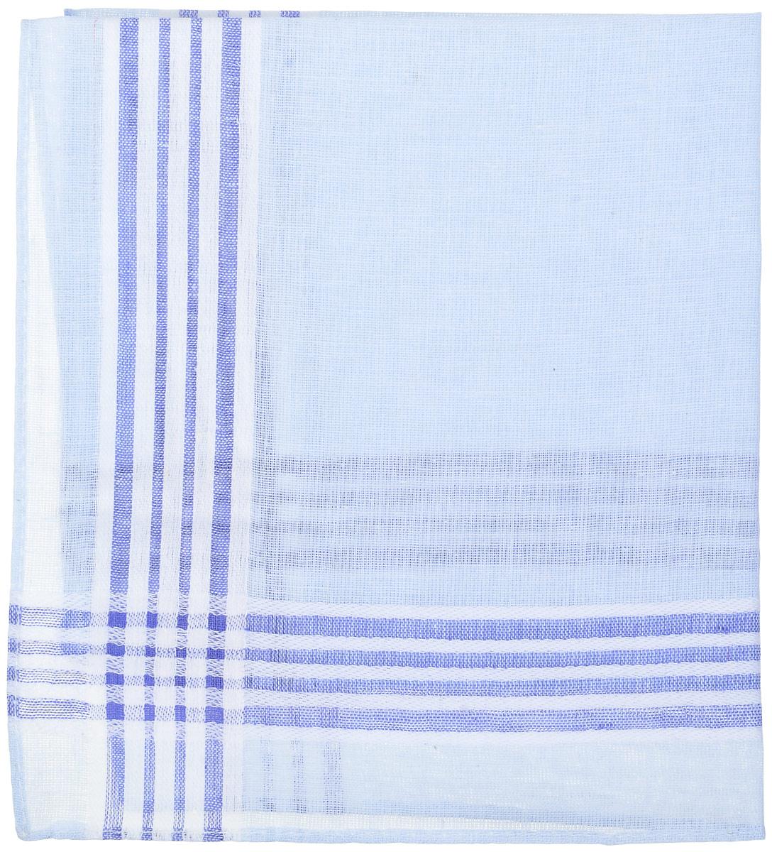 Носовой платок женский Zlata Korunka, цвет: голубой, белый. Размер 27 х 27 см45471_голубой, белый в полоскуНосовой платок женский Zlata Korunka, цвет: голубой, белый. Размер 27 х 27 см