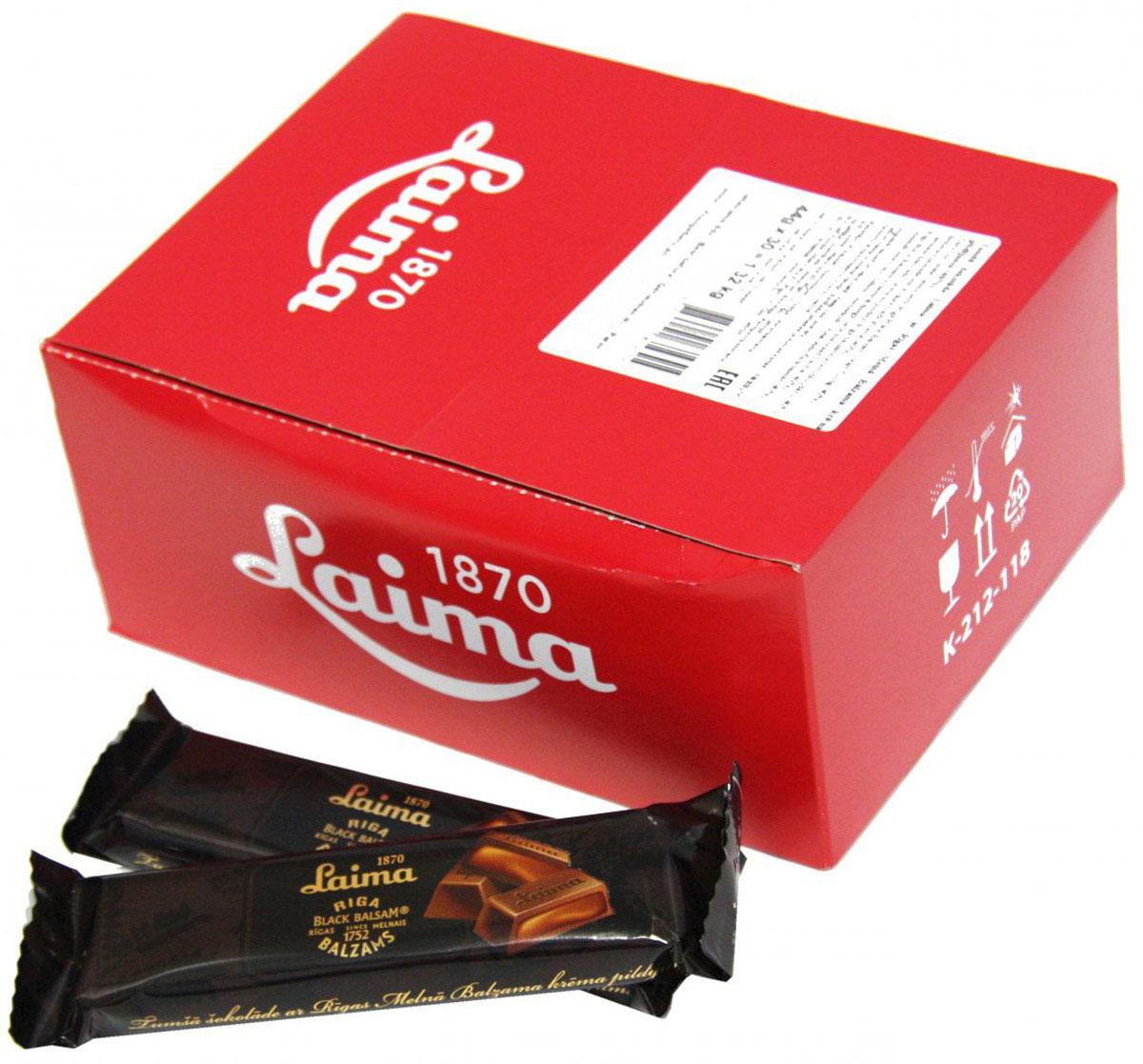 """Laima """"Рижский бальзам 40%"""" батончик в темном шоколаде с начинкой, 30 шт по 44 г 4750001819519"""