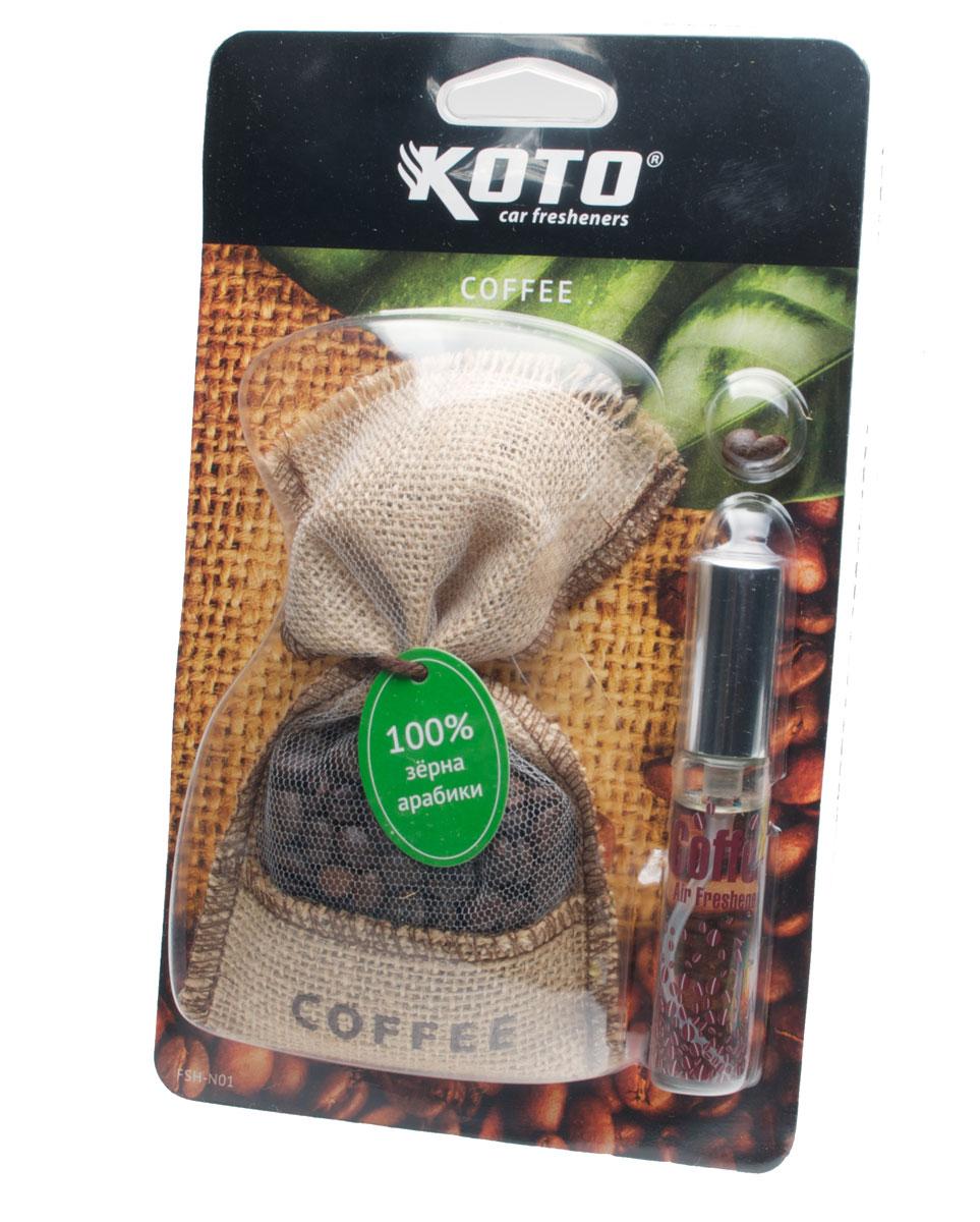 Ароматизатор для салона автомобиля Koto Аромат кофеFSH-N01Автомобильный ароматизатор Koto Аромат Кофе в виде мешочка с кофейными зернами c запахом кофе. Характеристики: Состав: зерна кофе, жидкостный ароматизатор. Размер упаковки: 15 см х 24 см х 4 см.