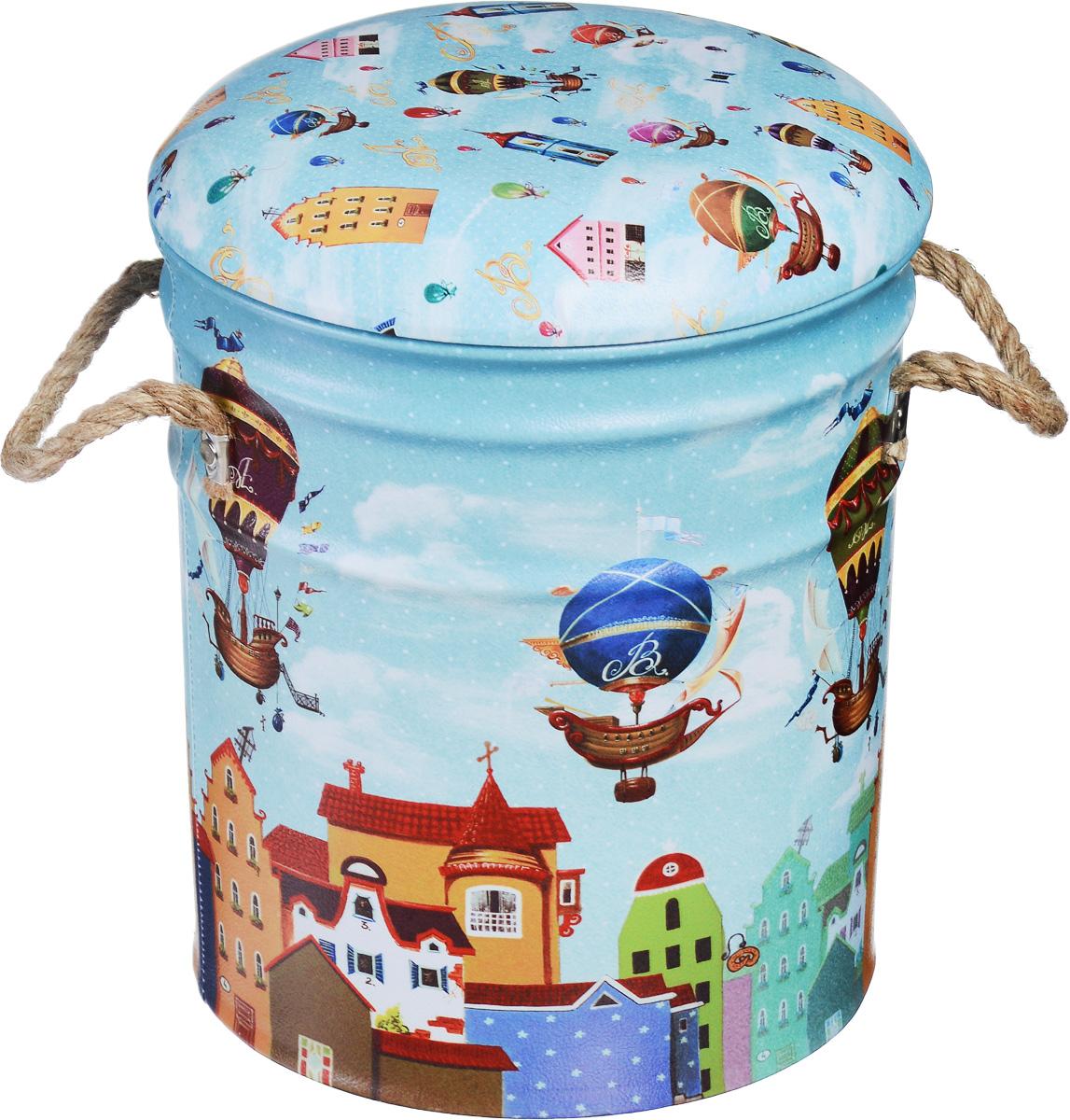 Пуфик Феникс-Презент «Дирижабли в лето», 30 х 30 х 38 см  детская мебель тумбочки