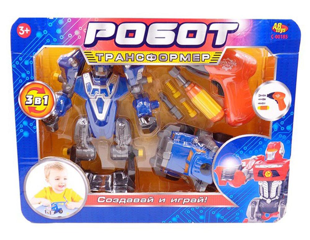 ABtoys Робот-трансформер 3 в 1 цвет синий серыйC-00185Робот-трансформер 3 в 1 ABtoys - это не просто отдельная игрушка, а целый набор. Основной игрушкой в наборе является сам робот. В комплект также входят синий грузовик и несколько специальных инструментов. С их помощью из двух отдельных игрушек можно будет создать одного целого супер-робота. Такой набор позволит придумать множество разнообразных сюжетов для игр, не только фантастических, с участием инопланетных роботов, но и вполне жизненных. С помощью машинки ребенок сможет представить себя гонщиком, а с помощью инструментов - инженером или механиком. Разнообразные темы игр, созданные с помощью игрушки и детской фантазии, долгое время смогут занимать малыша. Необходимо купить 2 батарейки напряжением 1,5V типа АА (не входят в комплект).