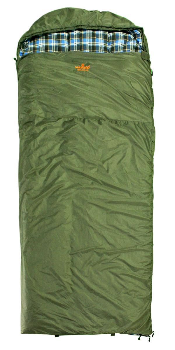 Спальный мешок Woodland Berloga 400 L, левосторонняя молния, цвет: хаки59381Спальный мешок Berloga 400 Размеры: 190+35 х 90 см Материал: 210T Polyester Rip-Stop W/R W/P Подкладка: 100% Cotton Flannel Утеплитель: 2Х200G/M2 Hollow Fiber + Шерсть Спальные мешки Berloga - это идеальное решение для любителей активного отдыха и кемпингов, которым требуется компактное и легкое снаряжение в сочетании с комфортом и наилучшим утеплением. Этот спальник предназначен для эксплуатации в условиях влажной и холодной погоды. Расчитан на три сезона использования, что позволяет спать в комфорте даже при сильных заморозках. Технология простегивания Jointless позволяет не прошивать внешнюю ткань спального мешка, что значительно уменьшает потерю тепла и позволяет увеличить температуру внутри спальника на 2°С. Объемный утепляющий воротник предотвращает проникновение холодного воздуха. Благодаря двухсторонней молнии спальники могут превращаться в одеяло, а так же состегиваться между собой. Теплоизолирующая полоса вдоль молнии исключает потерю...