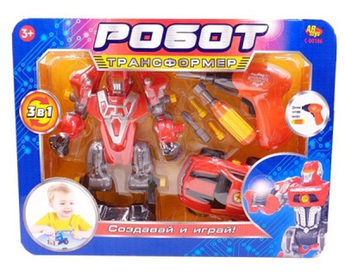 ABtoys Робот-трансформер 3 в 1 цвет красныйC-00186Робот-трансформер 3 в 1 ABtoys - это не просто отдельная игрушка, а целый набор. Основной игрушкой в наборе является сам робот. В комплект также входят машинка и несколько специальных инструментов. С их помощью из двух отдельных игрушек можно будет создать одного целого супер-робота. Такой набор позволит придумать множество разнообразных сюжетов для игр, не только фантастических, с участием инопланетных роботов, но и вполне жизненных. С помощью машинки ребенок сможет представить себя гонщиком, а с помощью инструментов - инженером или механиком. Разнообразные темы игр, созданные с помощью игрушки и детской фантазии, долгое время смогут занимать малыша. Необходимо купить 2 батарейки напряжением 1,5V типа АА (не входят в комплект).