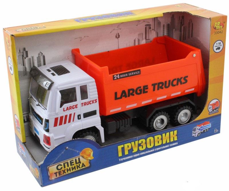 ABtoys Грузовик инерционный33042Инерционный грузовик ABtoys выполнен в масштабе 1/18. Машинка станет отличным подарком мальчику на любой праздник. Игрушка изготовлена из высокопрочного пластика, благодаря чему с ней можно играть не только дома, но и на улице. Машинка оснащена специальным механизмом, приводящим ее в движение - для этого необходимо немного отвезти грузовик назад и отпустить.