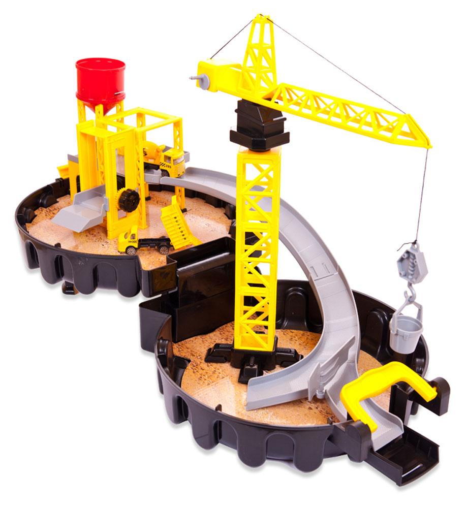ABtoys Строительная площадка АвтоситиPT-00548(WA-D0128)Строительная площадка ABtoys Автосити представляет собой круглый чемоданчик в виде автомобильной шины, внутри которого находится строительная площадка. Здесь же располагаются подъемная установка с краном и установка с цистерной. В комплект также входят бетономешалка, грузовая машина и другие элементы, с которыми ребенок сможет придумать множество самых разных историй.