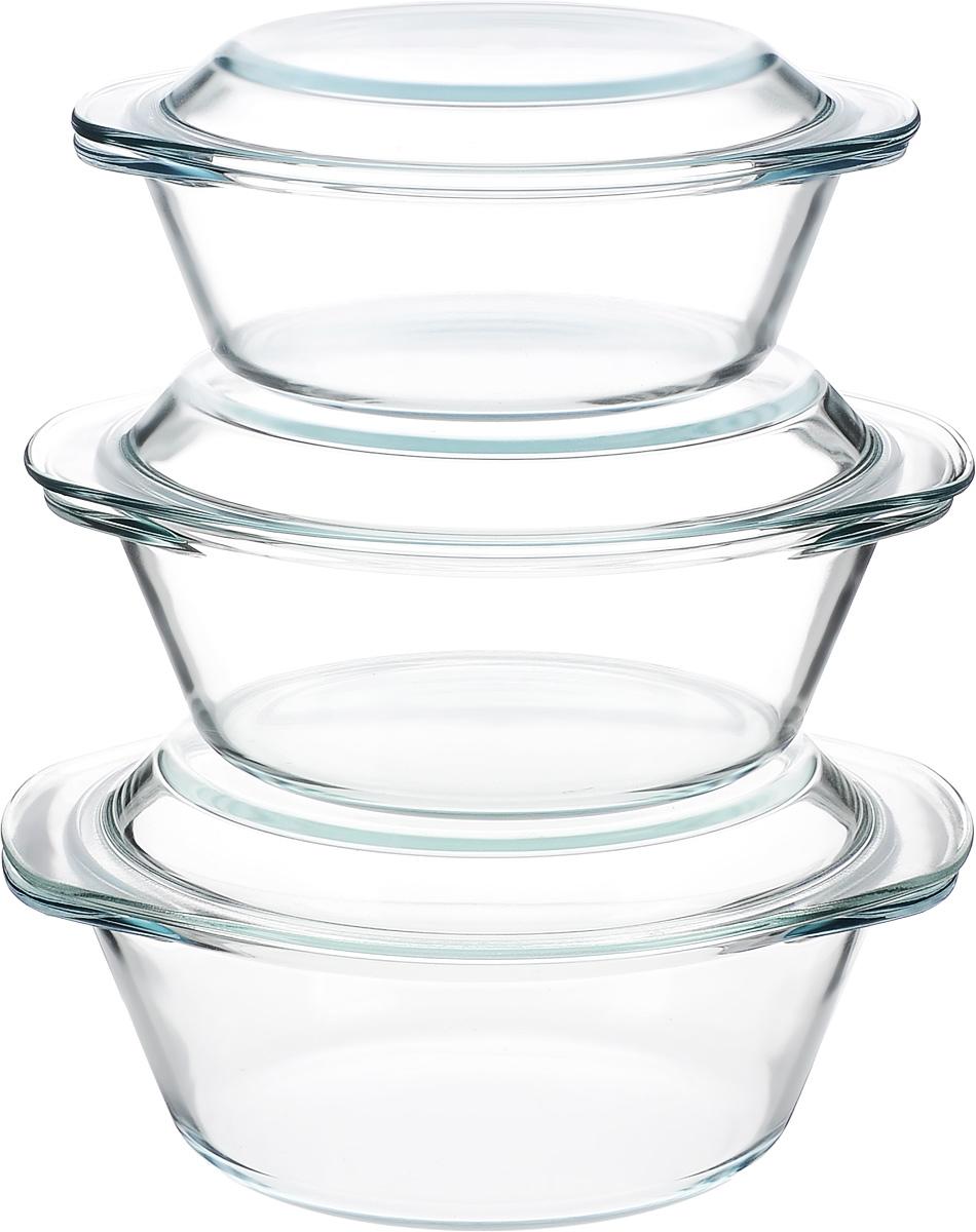 Набор кастрюль Helper Gurman, с крышками, 6 предметов4510Набор Helper Gurman состоит из трех кастрюль с крышками. Кастрюли изготовлены из жаропрочного стекла. Стеклянная огнеупорная посуда идеальна для приготовления блюд в духовке, микроволновой печи, а также для хранения продуктов в холодильнике и морозильной камере. Безопасна с точки зрения экологии. Не вступает в реакции с готовящейся пищей, не боится кислот и солей. Не ржавеет, в ней не появляется накипь. Не впитывает запахи и жир. Благодаря прозрачности стекла, за едой можно наблюдать при ее готовке. Изделия оснащены небольшими ручками. Можно мыть в посудомоечной машине. Объем кастрюль: 1,2 л, 1,8 л, 2,3 л. Диаметр кастрюль: 18,5 см, 21 см, 22 см. Высота стенки кастрюль: 6,5 см, 8 см, 9 см.