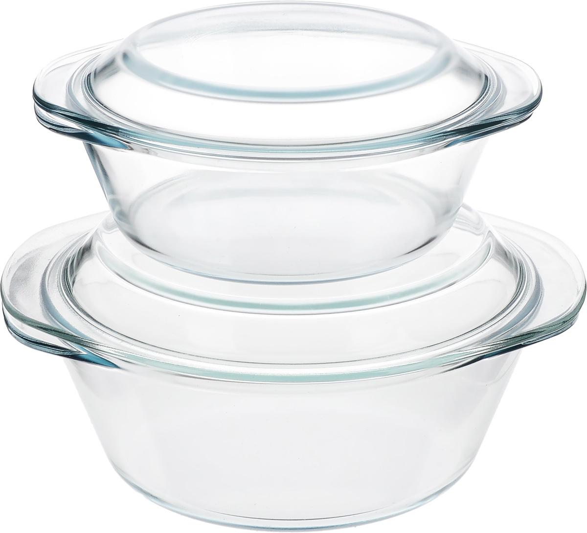 Набор кастрюль Helper Gurman, с крышками, 4 предмета4522Набор Helper Gurman состоит из двух кастрюль с крышками. Кастрюли изготовлены из жаропрочного стекла. Стеклянная огнеупорная посуда идеальна для приготовления блюд в духовке, микроволновой печи, а также для хранения продуктов в холодильнике и морозильной камере. Безопасна с точки зрения экологии. Не вступает в реакции с готовящейся пищей, не боится кислот и солей. Не ржавеет, в ней не появляется накипь. Не впитывает запахи и жир. Благодаря прозрачности стекла, за едой можно наблюдать при ее готовке. Изделия оснащены небольшими ручками. Можно мыть в посудомоечной машине. Объем кастрюль: 1,2 л, 2,3 л. Диаметр кастрюль: 18,5 см, 22 см. Высота стенки кастрюль: 6,5 см, 8,5 см.